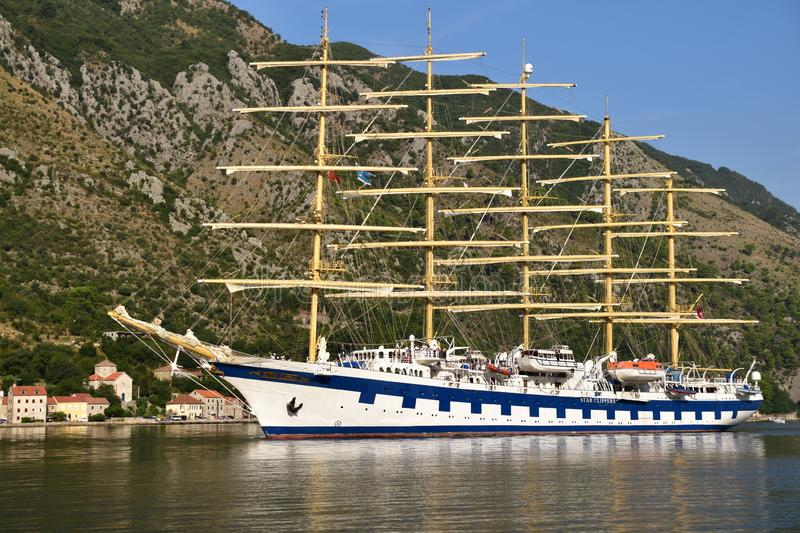 Royal Clipper arriving to the port stock photos
