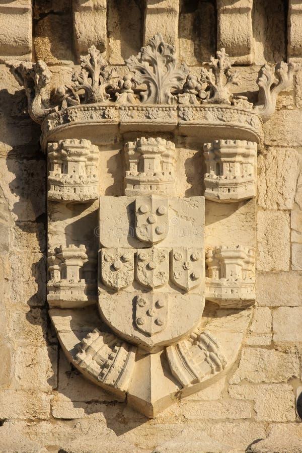 Royal Coat of Arms. Belem Tower. Lisbon. Portugal. Detail of the royal coat of arms on the wall of the Torre de Belem. Lisbon. Portugal royalty free stock photos