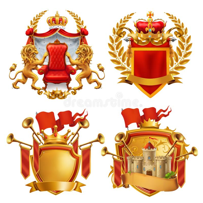 Royal coat of arms. King and kingdom, vector emblem set stock illustration