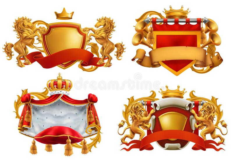 Royal coat of arms. King and kingdom. Vector emblem set royalty free illustration