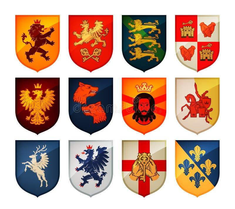Royal coat of arms on shield vector logo. Heraldry, blazonry set icons vector illustration