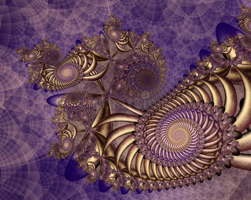 Royal Colors. Shiny gold spiral structure against purple textured background stock illustration