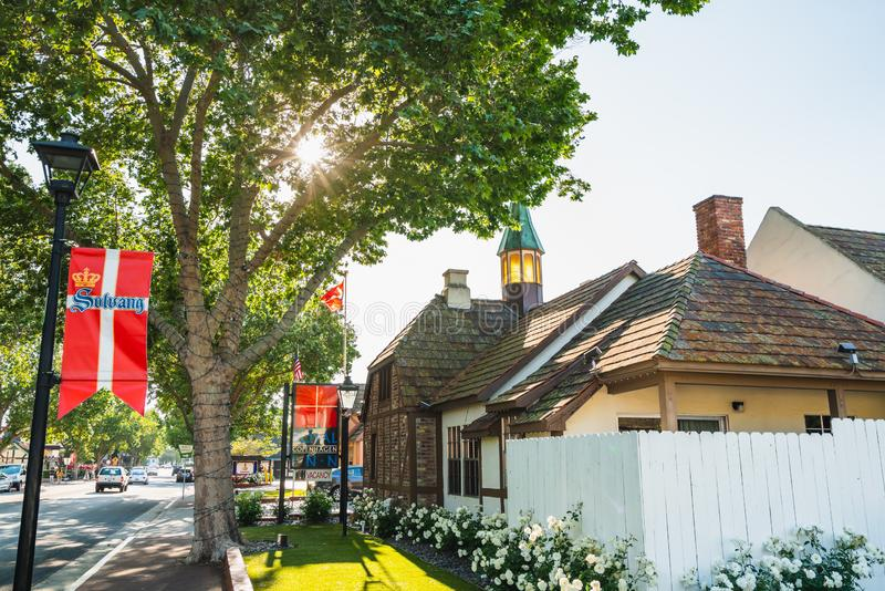 Royal Copenhagen Inn Hotel, Mission Drive, Solvang. Danish Village in California, Known for its Traditional Danish Style Architect royalty free stock images
