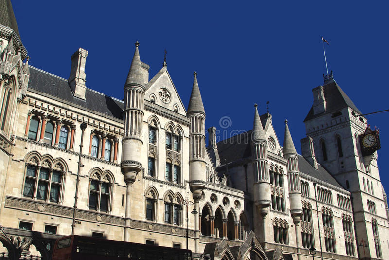 The Royal Courts of Justice. View on the Royal Courts of Justice, London royalty free stock photos