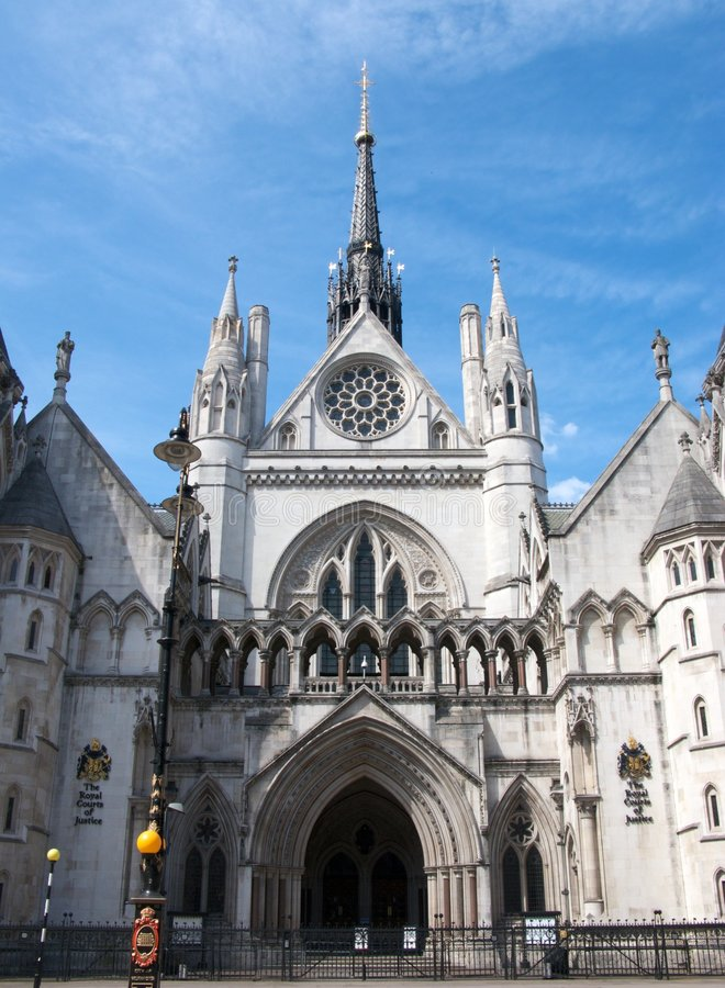 Royal Courts of Justice. The entrance to the Royal Courts of Justice in London, England royalty free stock photography