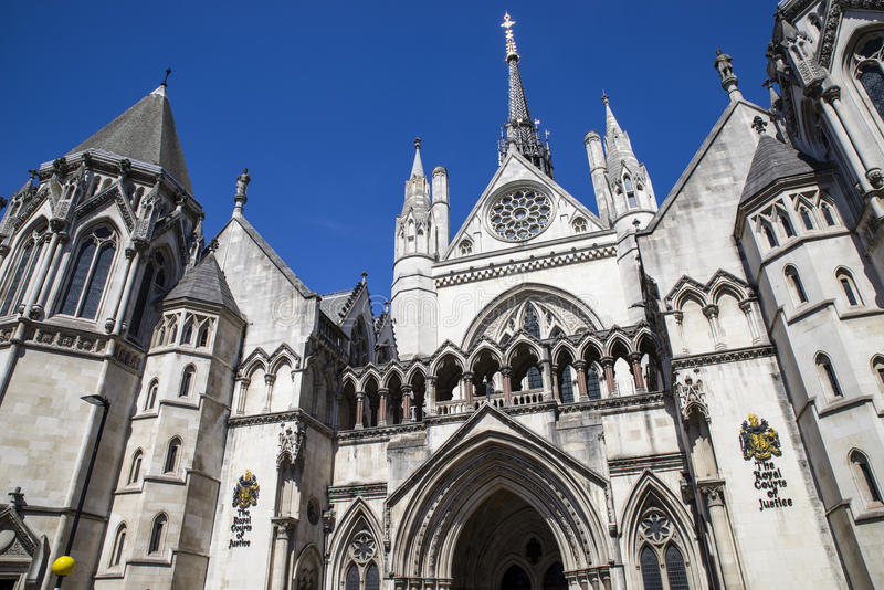 Royal Courts of Justice in London. A view of the magnificent architecture of the Royal Courts of Justice in London stock photo