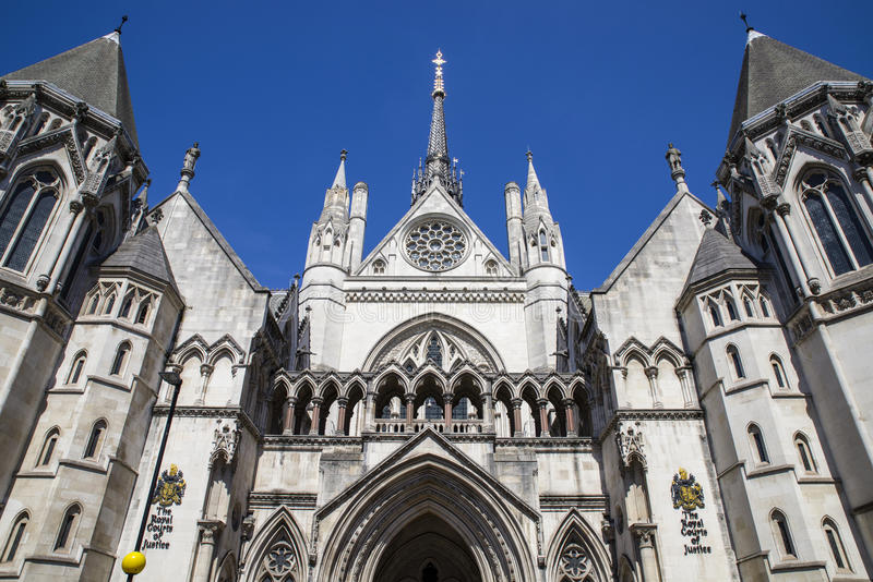 Royal Courts of Justice in London. A view of the magnificent architecture of the Royal Courts of Justice in London stock image