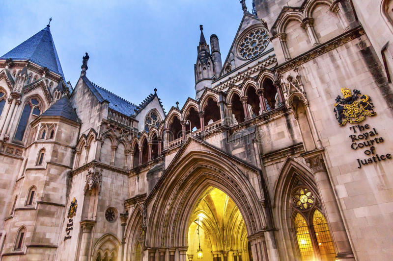 Royal Courts of Justice Old City London England. Royal Courts of Justice Symbol Old City London England royalty free stock photos