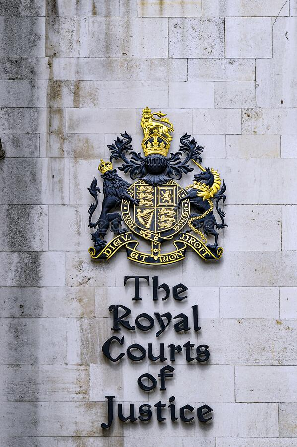 The Royal Couts of Justice sign royalty free stock photography