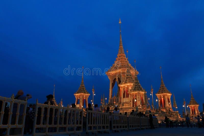 The Royal Crematorium. Bangkok, Thailand - November 28, 2017: The royal crematorium of His Majesty King Bhumibol Adulyadej at night royalty free stock photos