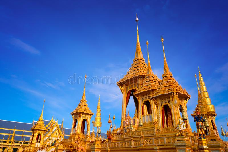 The Royal Crematorium of His Majesty King Bhumibol Adulyadej. Stands tall in Sanam Luang in front of the Grand Palace royalty free stock photo