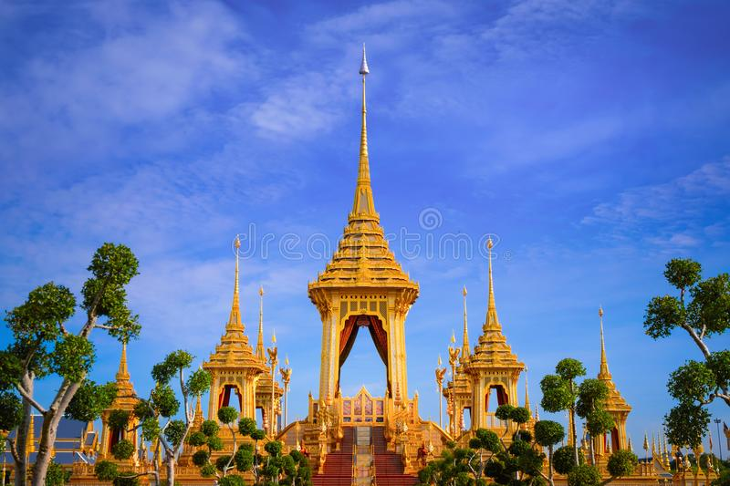 The Royal Crematorium of His Majesty King Bhumibol Adulyadej. Stands tall in Sanam Luang in front of the Grand Palace stock photography