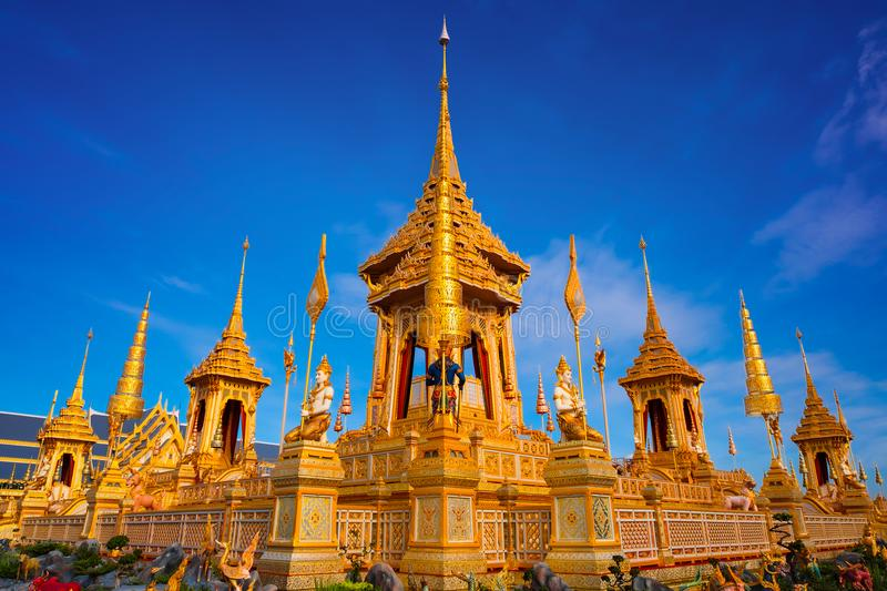 The Royal Crematorium of His Majesty King Bhumibol Adulyadej. Stands tall in Sanam Luang in front of the Grand Palace stock photo