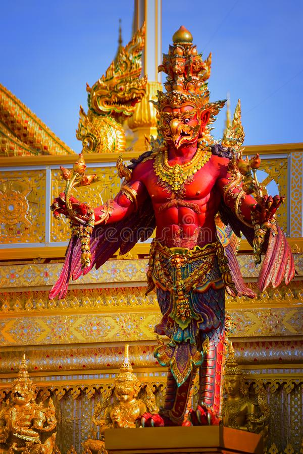 The Royal Crematorium of His Majesty King Bhumibol Adulyadej. Stands tall in Sanam Luang in front of the Grand Palace stock image