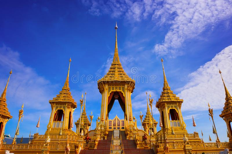The Royal Crematorium of His Majesty King Bhumibol Adulyadej. Stands tall in Sanam Luang in front of the Grand Palace stock photos