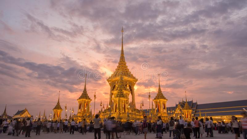 The Royal Crematorium Replica for King Bhumibol Adulyadej Pra May Ru Maat at Sanam Luang for royal funeral Cremation Ceremony 15 stock image