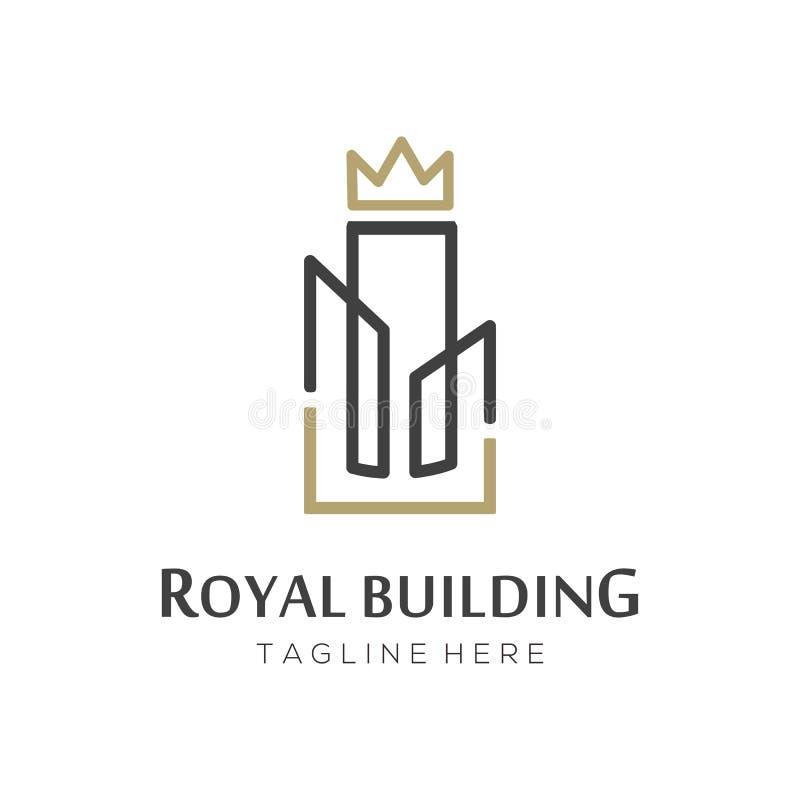 Royal crown building real estate logo and icon design vector illustration