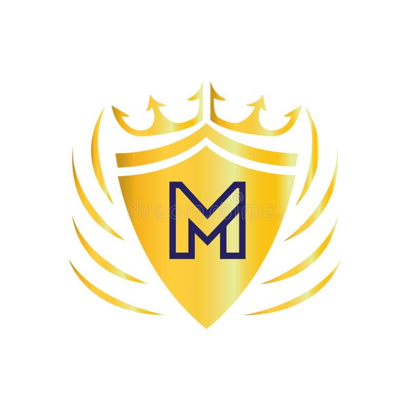 Royal Crown Logo. Letter M logo. Flat logo design. stock illustration