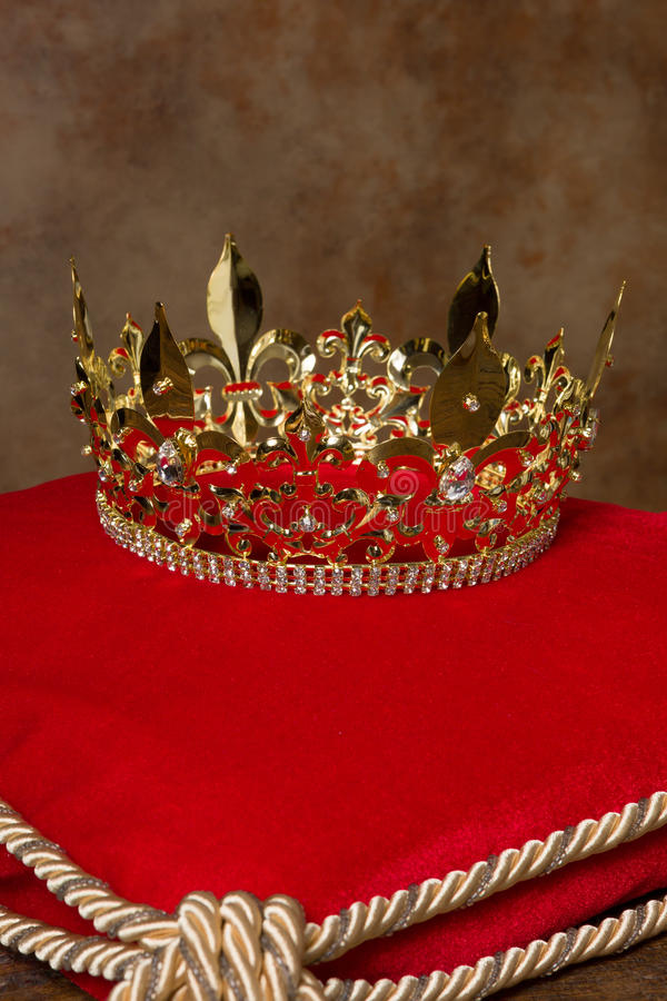 Royal crown on pillow stock image. Image of gold, antique