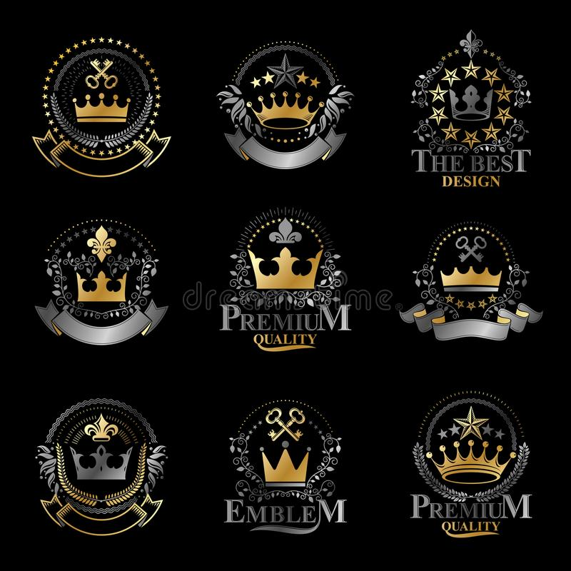 Royal Crowns emblems set. Heraldic vector design elements collection. Retro style label, heraldry logo. royalty free illustration