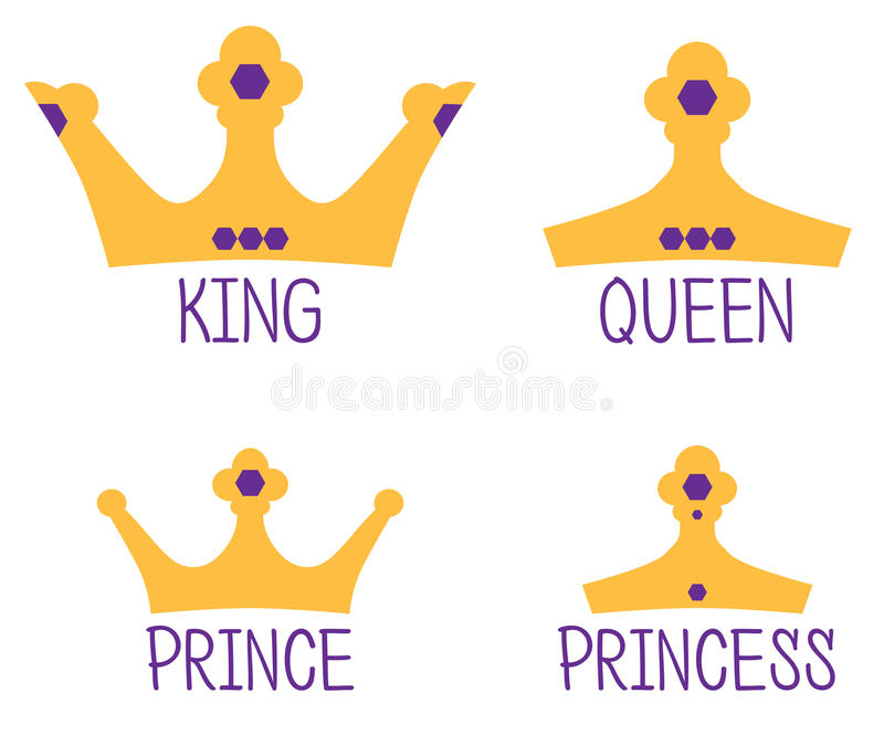 Royal Crowns, King, Queen, Prince, Princess royalty free illustration