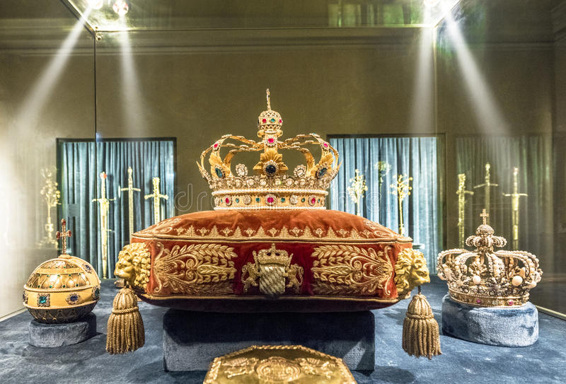 Royal crowns. At the exposition of Munich Residence. Germany royalty free stock photos