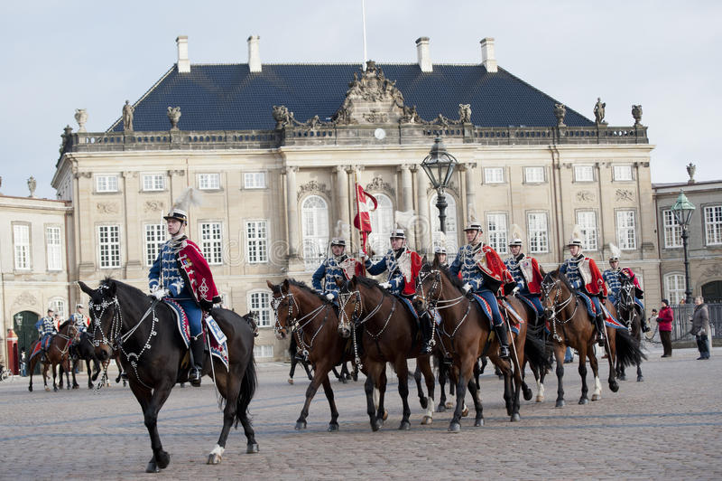 Royal Danish guard. The Royal Danish Guard patrols the royal residence Amalienborg Palace and serves the royal Danish family. Amalienborg is also known for the stock image