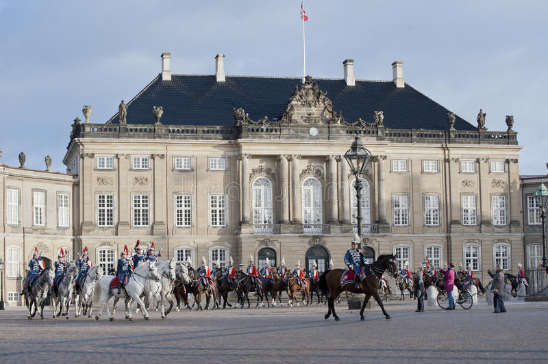 Royal Danish guard. The Royal Danish Guard patrols the royal residence Amalienborg Palace and serves the royal Danish family. Amalienborg is also known for the stock photography