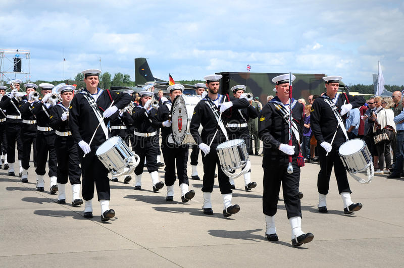 Royal danish navy band. Thirty years Nato air base in Geilenkirchen, Germany. This day will be celebrated with a day of open air base. There was a parade with stock photos