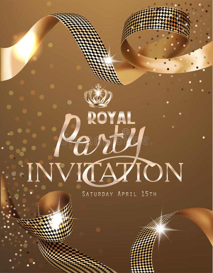 Royal design banner with gold curly silk ribbons and gold background. Ribbon cutting ceremony. royalty free illustration