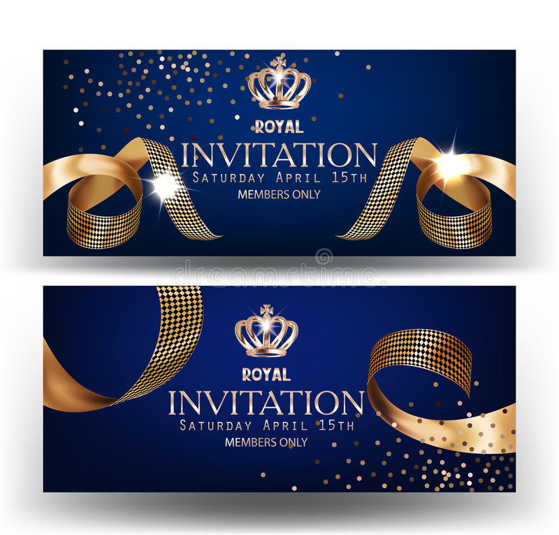Royal design banners with gold curly silk ribbons and blue background. royalty free illustration