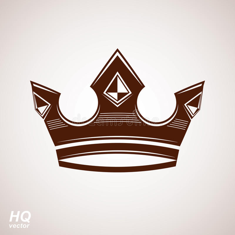 Royal design element, regal icon. Vector majestic crown, luxury stylized coronet illustration. King and queen regalia, imperial eps8 symbol royalty free illustration