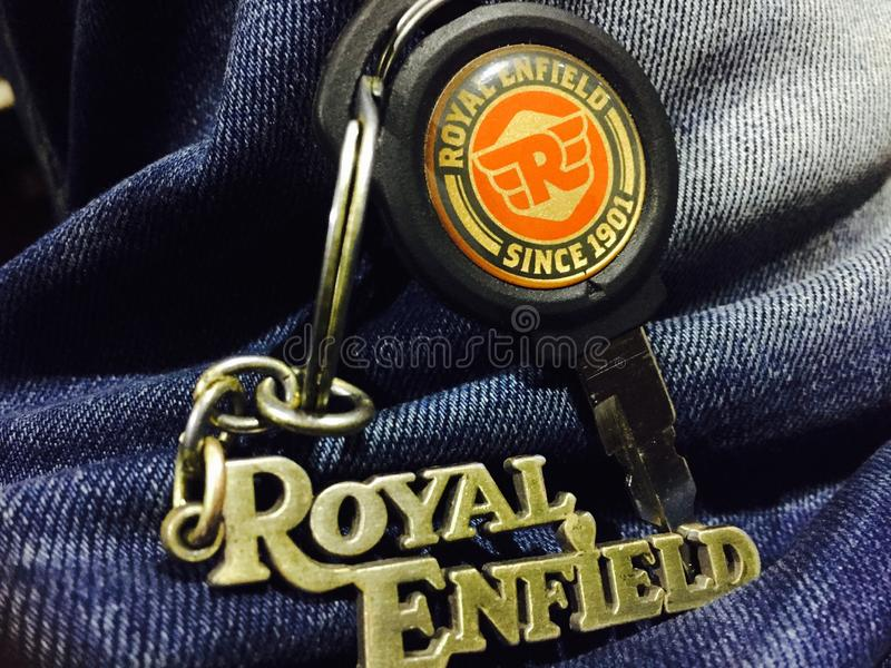 royal enfield bike love keychains royalty free stock photo