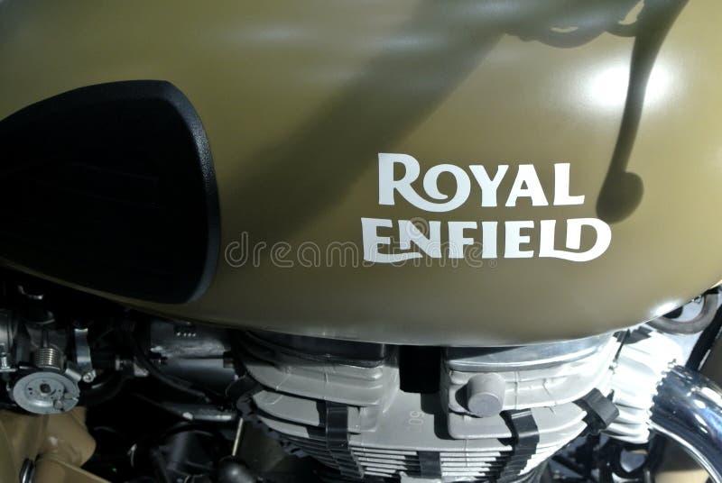 ROYAL ENFIELD motorcycle brand and logos at the motorcycle body. KUALA LUMPUR, MALAYSIA -MARCH 31, 2018: ROYAL ENFIELD motorcycle brand and logos at the royalty free stock image