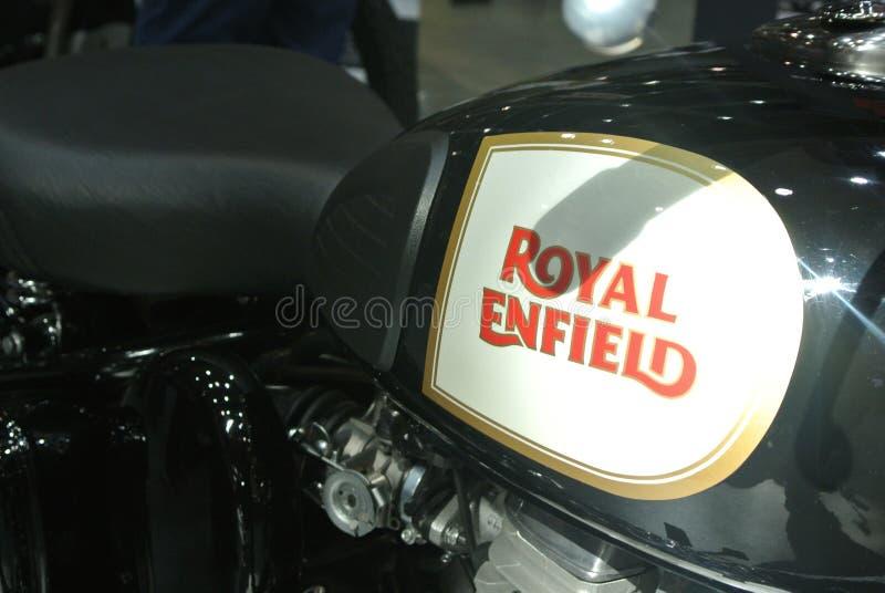 ROYAL ENFIELD motorcycle brand and logos at the motorcycle body. KUALA LUMPUR, MALAYSIA -MARCH 31, 2018: ROYAL ENFIELD motorcycle brand and logos at the stock photography