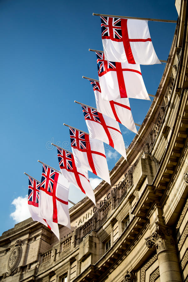 Royal Ensign Flags. At Admiralty Arch, Westminster, London stock photo