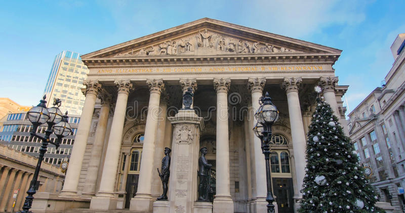 The Royal Exchange in London with Christmas tree stock photo
