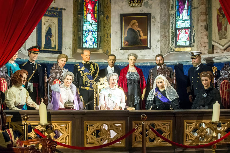 The Royal Family of England. The Royal Family of Great Britain - sculptures in wax. King Edward VII King George V King George VI. Queen Alexandra Queen Mary stock photography