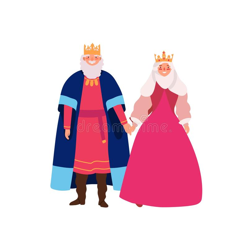 Royal family flat vector illustration. Smiling medieval queen and king in historical costumes cartoon characters royalty free illustration