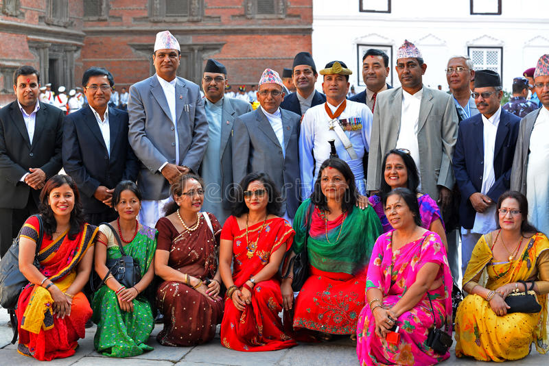 Royal family, high society members. KATHMANDU, OCT 11, People of the Nepalese high society, politicians and businessmen, gathered in the Royal Palace to stock images