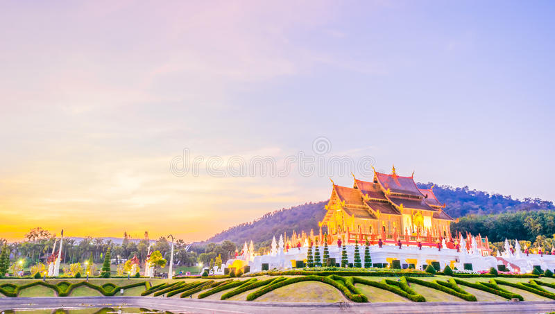 Royal Flora temple (ratchaphreuk)in Chiang Mai,Thailand stock photo