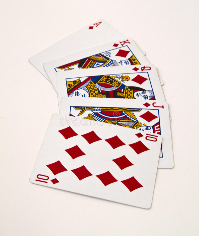 Royal Flush. Top of the line in poker, a royal flush, the highest you can get royalty free stock photography