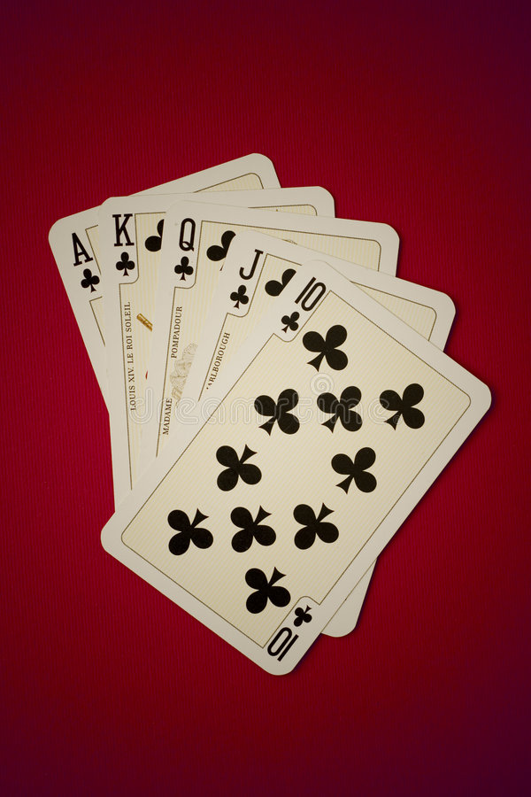 Royal Flush. Of clubs on red background royalty free stock image