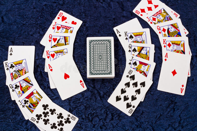 Royal Flush. On the blue table stock image