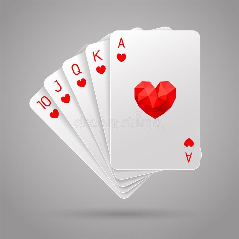 Royal Flush des Herzens Poker-Hand stock abbildung