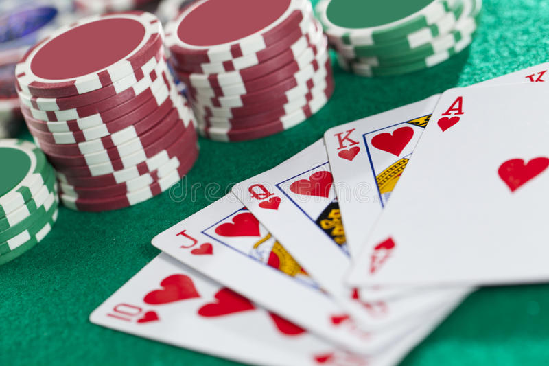 Royal Flush. On The Green Background royalty free stock photo