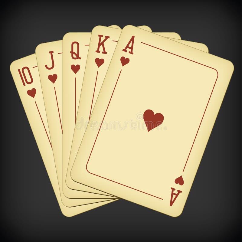Royal Flush of heart - ilustracja wektora kart do gry w roczniki ilustracja wektor