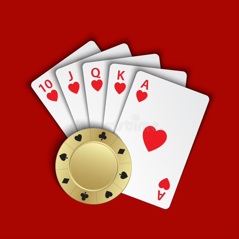 A royal flush of hearts with gold poker chip on red background stock illustration