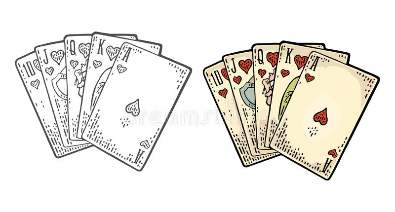Royal flush in hearts. Male hand holding a game card. royalty free illustration