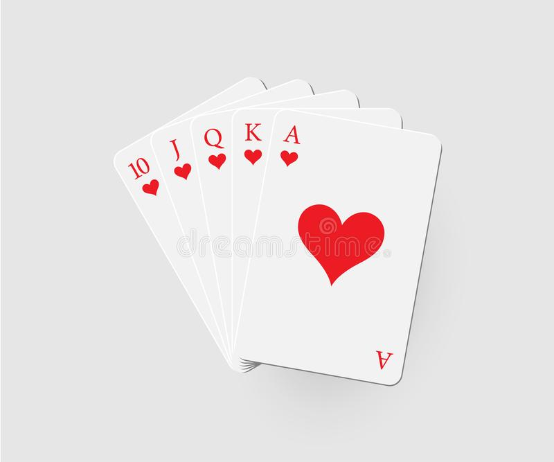 Royal flush of hearts. Vector poker combination isolated on gray background. vector illustration